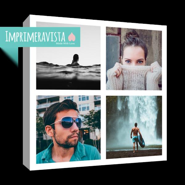 collage de 4 fotografías montado sobre lienzo