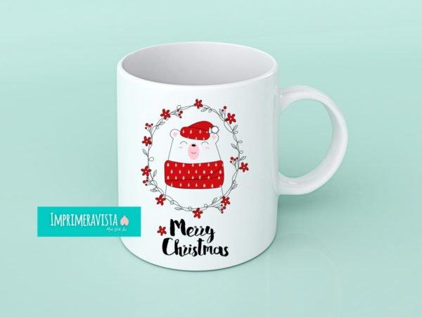 taza con diseño navideño en tonos rojos, oso con gorro de navidad