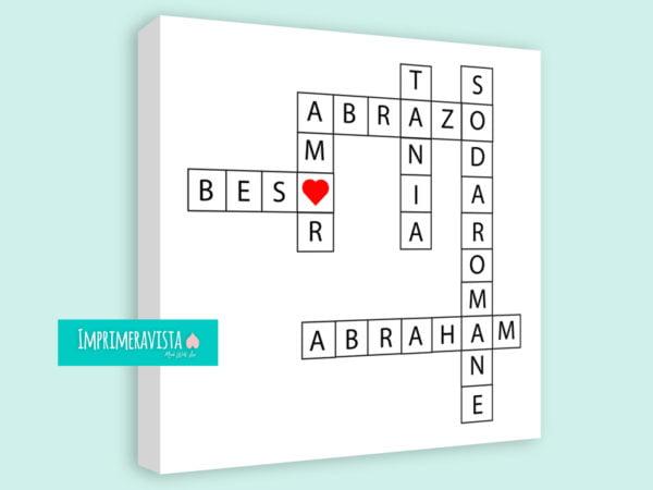 lienzo con juego de palabras románticas personalizado