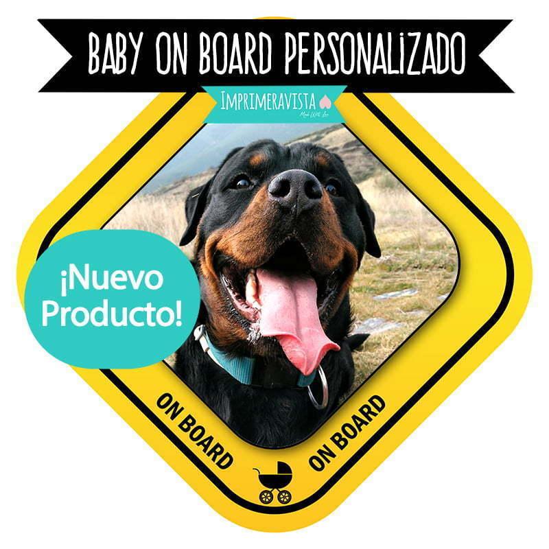 """PLACA DE DM """"bebé a bordo"""" personalizada con foto para coche"""