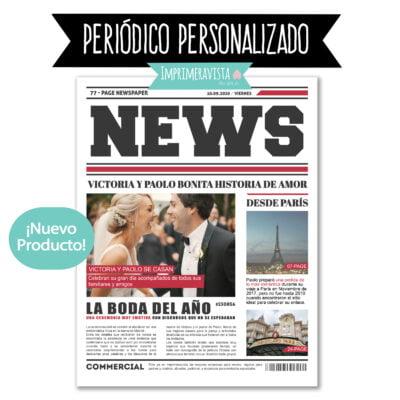 Portada de periodico personalizada con imagenes y texto de boda