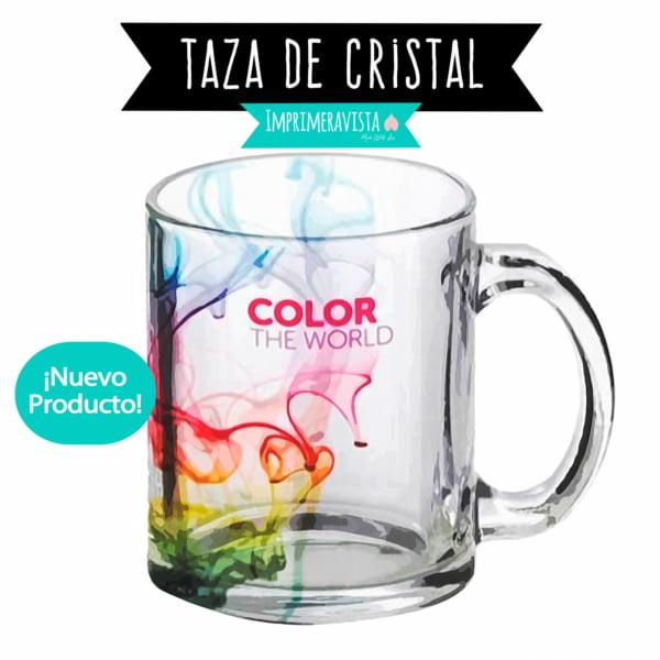 taza de cristal de alta calidad en acabado brillante con diseño personalizado a todo color