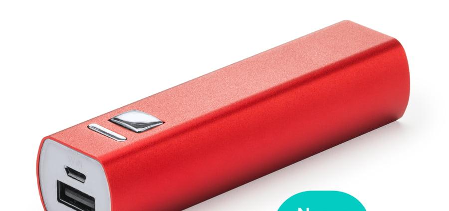 powerbank rojo de 2400mA, para regalar como regalo publicitario merchandising de empresa