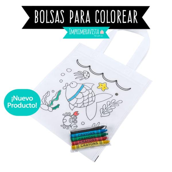 bolsa coloreable para niños blanca con dibujos de peces, con ceras de colores