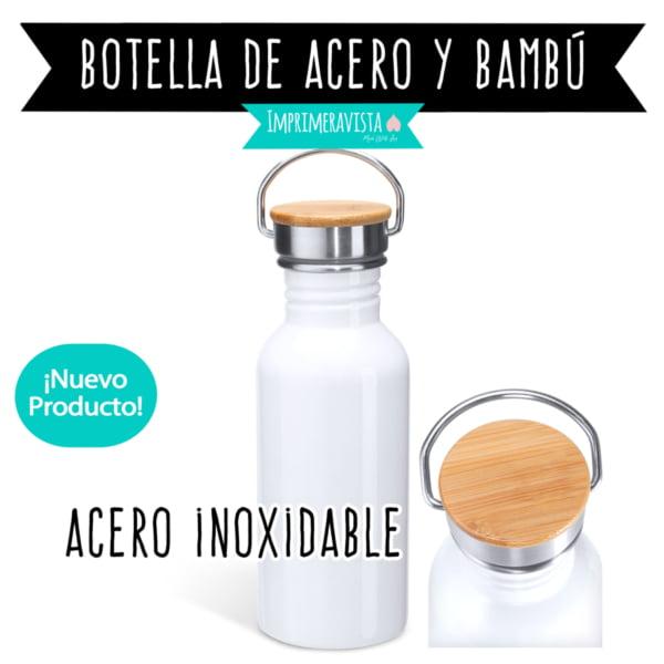 botella termo de acero inoxidable blanco con tapón de bambú para personalizar