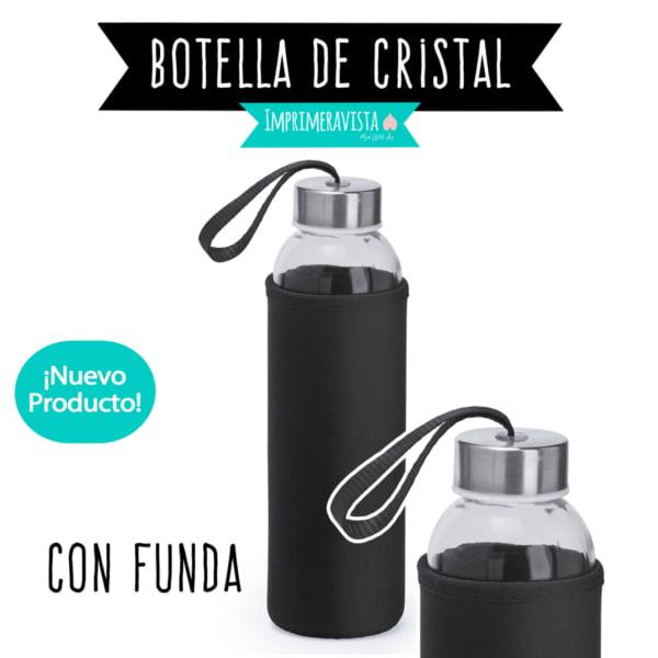 botella de cristal con funda de neopreno personalizada