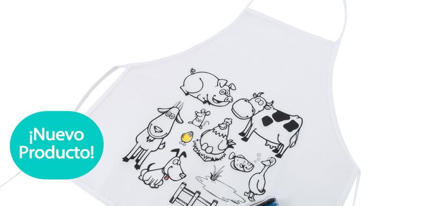 delantal personalizado para colorear con ceras de colores incluidas y dibujos de animales de granja