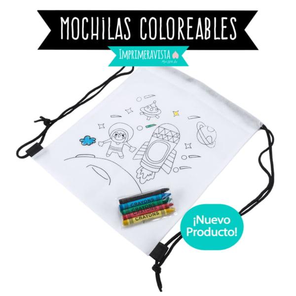 mochila coloreable con motivos espaciales, juego de mesa infantil para colorear, con ceras de colores