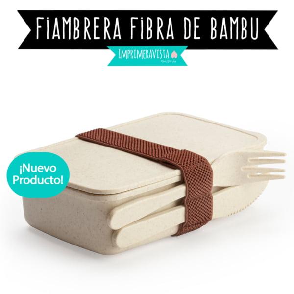 fiambrera tupper de bambú con cubiertos, regalos para almorzar fuera de casa