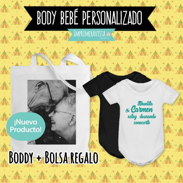 body de bebe con frases divertidas y bolsa personalizada para regalar