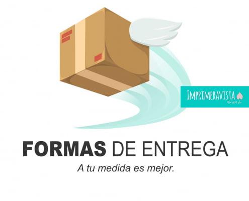 logotipo Tipos de entrega imprimeravista, una caja con alas y una estela de color turquesa y la frase a tu medida es mejor