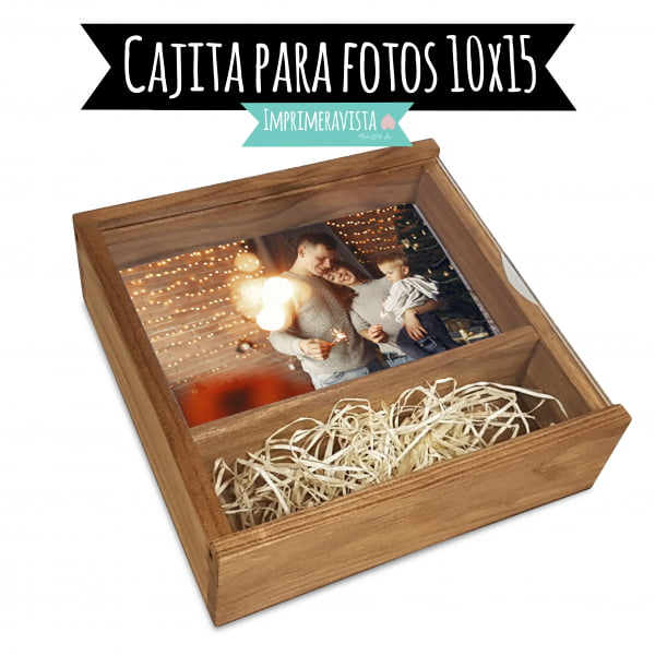cajita de madera con tapa de metacrilato para fotografías 10 x 15