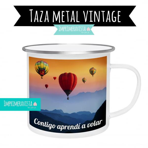 taza de metal esmaltada con borde cromado personalizada con una fotografía y una frase para regalo, contigo aprendí a volar