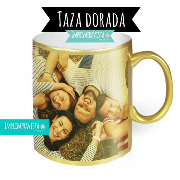 Taza dorada brillo personalizada con foto familiar a todo color
