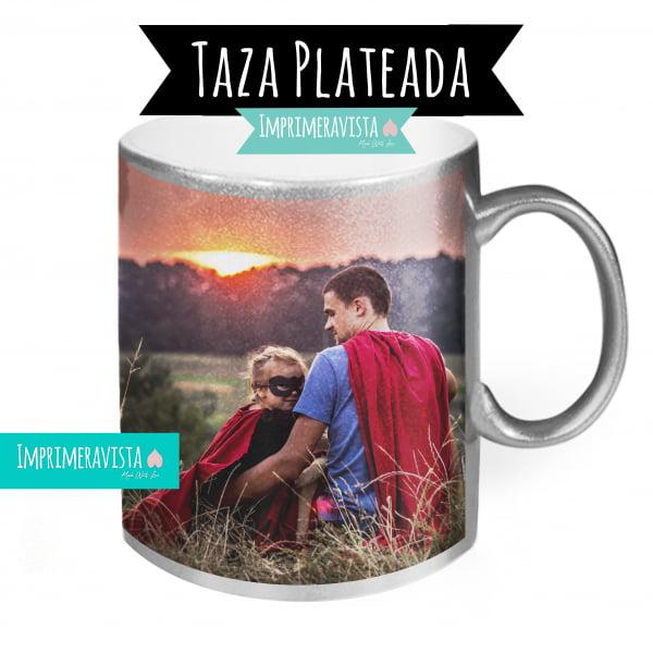 taza plateada con foto
